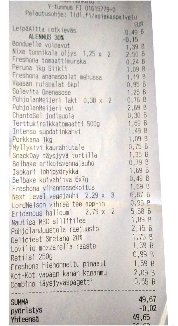 50 euron ruokalista