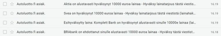 autolaina tarjouksia sähköpostissa