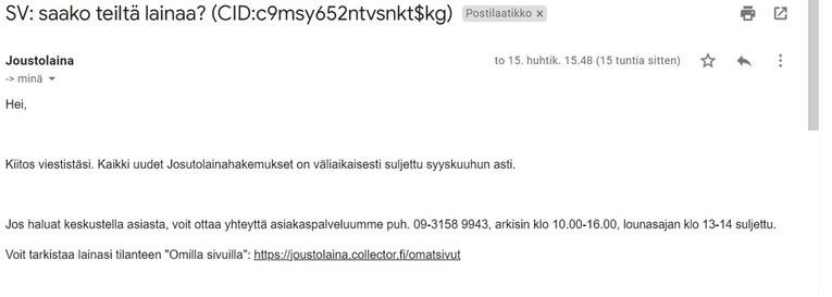 collector bank sähköpostitiedustelu
