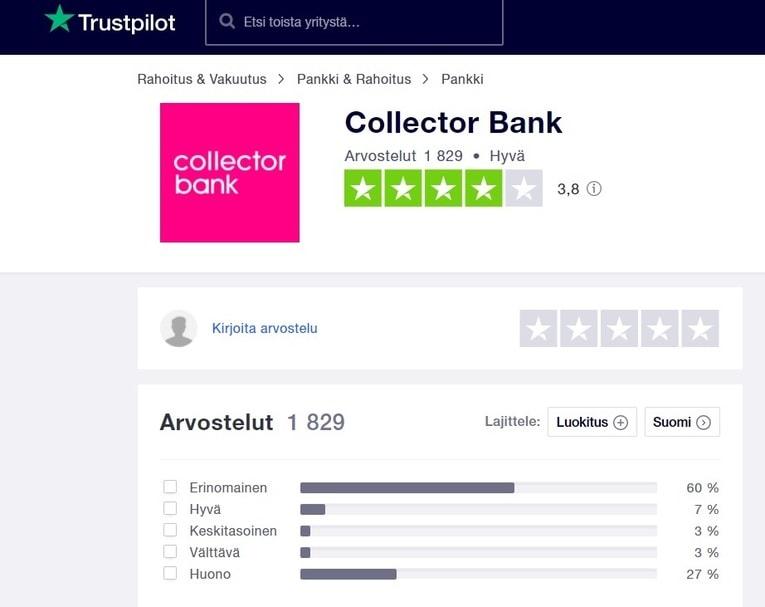 collector kokemuksia trustpilotilla