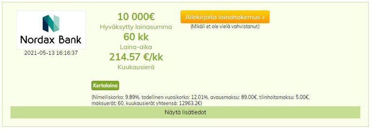 nordax bank lainatarjous